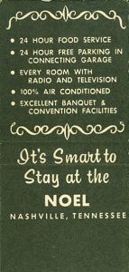 Back of Matchbook Noel Nashville Hotel