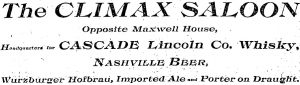 climax saloon newspaper ad