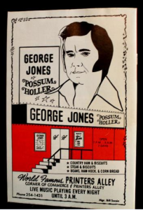 george jones bar possum holler printers alley